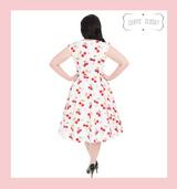 White Cherry Print V Neck 50s Vintage Sleeveless Swing Dress in Plus Size only