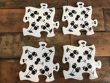 Jigsaw Coasters / Saucepan Trivet Black and White Ceramic with Cherry Skulls