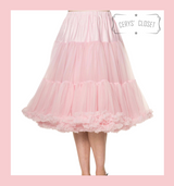 """50s Vintage Supersoft Rock n Roll Rockabilly Petticoat Skirt 26"""" With Petticoat Bag Baby Pink"""