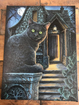 """What Lies Within"" Black Cat Canvas By Lisa Parker 19 x 25CM"