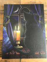 """Midnight Vigil"" Black Cat Canvas By Lisa Parker 19 x 25CM"