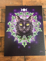 """The Charmed One"" Black Cat Canvas By Lisa Parker 19 x 25CM"