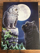 """Purrfect Wisdom"" Black Cat and Owl Canvas By Lisa Parker 19 x 25CM"