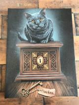 """""""Pandoras Box"""" Black Cat Canvas By Lisa Parker 19 x 25CM"""
