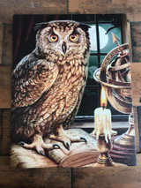 """""""The Astrologer"""" Owl Canvas By Lisa Parker 19 x 25CM"""