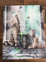 """Hubble Bubble"" Cat and Kitten Canvas By Lisa Parker 19 x 25CM"