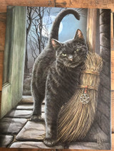 """""""Brush With Magick"""" Cat and Broom Canvas By Lisa Parker 19 x 25CM"""