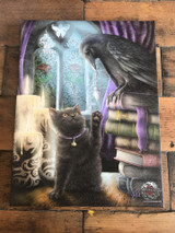 """Familiarity"" Cat and Raven Canvas By Linda Jones 19 x 25CM"