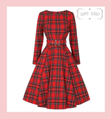 Highland Red Tartan Vintage Swing Dress with Long Sleeves Audrey Neckline and Belted Waist