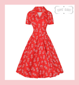 Hearts and Roses London Ruby Rose Red Faux Shirt V Collar 50s Rockabilly Swing Dress with Capped Sleeves at Cerys' Closet. A beautiful shirt dress covered in white roses on a red background.