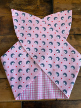 50s Retro Inspired Reversible Wired Hairband Hedgehog and Pink Gingham Print