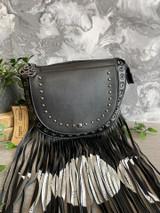 Triple Moon Fringe Saddle Handbag