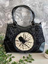 Spinderella Spider Handbag with Flock Spider Detail