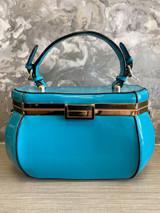 40s Single Handle Vintage Rockabilly Pinup Style Patent Jewel Shaped Vanity Style Handbag with Detachable Shoulder Strap - Blue