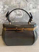 40s Single Handle Vintage Rockabilly Pinup Style Patent Jewel Shaped Vanity Style Handbag with Detachable Shoulder Strap - Grey