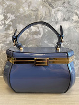 40s Single Handle Vintage Rockabilly Pinup Style Patent Jewel Shaped Vanity Style Handbag with Detachable Shoulder Strap - Stone Blue