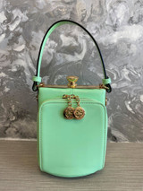 Single Handle 50s Vintage Inspired Shiny Patent Rockabilly Pin Up Purse Fronted Handbag - Mint