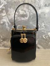 Single Handle 50s Vintage Inspired Shiny Patent Rockabilly Pin Up Purse Fronted Handbag - Black