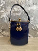 Single Handle 50s Vintage Inspired Shiny Patent Rockabilly Pin Up Purse Fronted Handbag - Navy