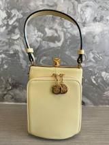 Single Handle 50s Vintage Inspired Shiny Patent Rockabilly Pin Up Purse Fronted Handbag - Cream
