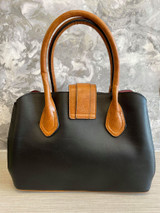 Floral Print Vintage Reproduction Style Faux Leather Zip Top Handbag with Slip Pockets- Black