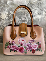 Floral Print Vintage Reproduction Style Faux Leather Zip Top Handbag with Slip Pockets- Pink
