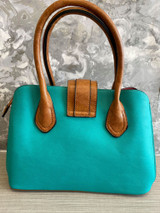 Floral Print Vintage Reproduction Style Faux Leather Zip Top Handbag with Slip Pockets - Teal