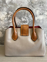 Floral Print Vintage Reproduction Style Faux Leather Zip Top Handbag with Slip Pockets stone colour