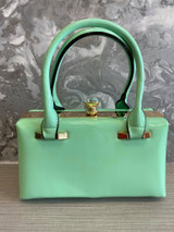 40s and 50s Classic Pinup Rockabilly Vintage Inspired Shiny Patent Box Style Handbag - Mint