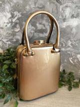 Patent Vintage 40s / 50s Style Handbag - Metallic Champagne