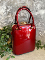 40s and 50s Vintage Inspired Reproduction Box Handbag in Metallic Red