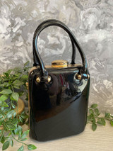Patent Vintage 40s / 50s Style Handbag - Black