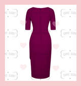 Aubergine Sexy 40s Vintage Inspired Bombshell Sweet Heart Wiggle Bodycon Dress by Cerys' Closet