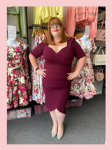 40s Vintage Inspired Bombshell Sweet Heart Wiggle Bodycon Dress by Cerys' Closet - Aubergine