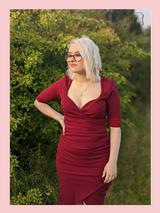 40s Vintage Inspired Bombshell Sweet Heart Wiggle Bodycon Dress by Cerys' Closet - Merlot