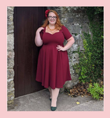 LIMITED EDITION Colour 50s Vintage Inspired Vera Sweet Heart Swing Dress by Cerys' Closet in Burgundy
