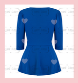 The Betty Peplum Sweetheart Neckline peplum top with 3/4 sleeves by Cerys' Closet - Royal Blue