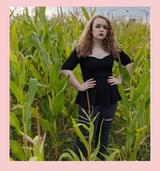 The Betty Peplum Sweetheart Neckline peplum top with 3/4 sleeves by Cerys' Closet - Black