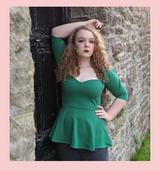 The Betty Peplum Sweetheart Neckline peplum top with 3/4 sleeves by Cerys' Closet - Emerald Green