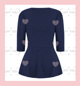 The Betty Peplum Sweetheart Neckline peplum top with 3/4 sleeves by Cerys' Closet - Navy