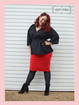 The Bang Bang Vintage Style Pencil Skirt by Cerys' Closet in Lipstick Red. Fitted pencil skirt, body con skirt with lots of stretch.
