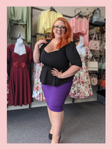 The Bang Bang Vintage Style Pencil Skirt by Cerys' Closet in Purple. Fitted pencil skirt, body con skirt with lots of stretch.