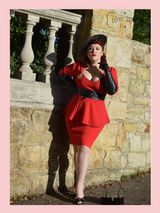 Lipstick Red Betty Bang Bang Peplum top and Pencil Skirt Combo by Cerys' Closet Peplum Top Plus Size fashion Pencil Skirt Separates but when worn together they make an amazing dress, 3 looks in 1