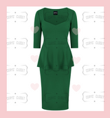 Emerald Green Betty Bang Bang Peplum top and Pencil Skirt Combo by Cerys' Closet. Peplum Top Plus Size fashion Pencil Skirt Separates but when worn together they make an amazing dress, 3 looks in 1