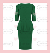 Emerald Green Betty Bang Bang Peplum top and Pencil Skirt Combo by Cerys' Closet Peplum Top Plus Size fashion Pencil Skirt Separates but when worn together they make an amazing dress, 3 looks in 1