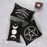black and white talking board, pentagram and triple moon cushions