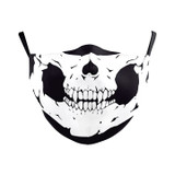 Black and White Skull with Fangs Adjustable Double Layered Face Mask with Filter Opening