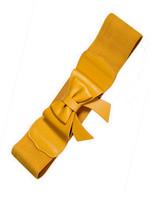 50s Vintage Inspired Faux Leather Elasticated Waspie Bow Belt - Mustard