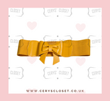Mustard Yellow 50s Vintage Inspired Faux Leather Elasticated Waspie Bow Belt Banned apparel at Cerys' Closet