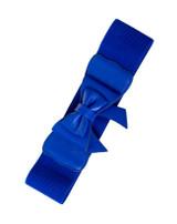 50s Vintage Inspired Faux Leather Elasticated Waspie Bow Belt - Royal Blue